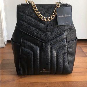 New Nanette Lepore Vegan Leather Black Backpack